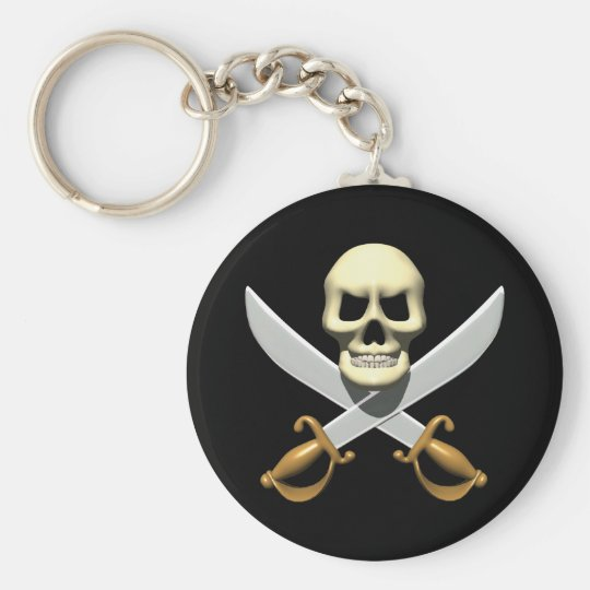 3D Pirate Skull and Crossed Swords Keychain