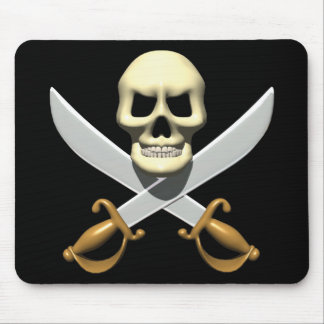 3D Pirate Skull and Crossed Swords Mousepad