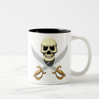3D Pirate Skull and Crossed Swords Coffee Mug