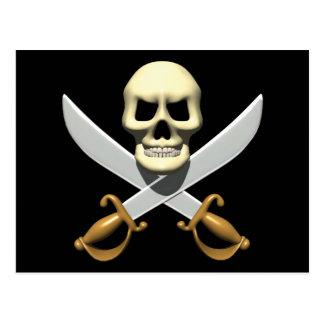 3D Pirate Skull and Crossed Swords Postcard