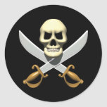 3D Pirate Skull and Crossed Swords Round Stickers