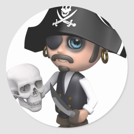 3d-Pirate-skull Classic Round Sticker