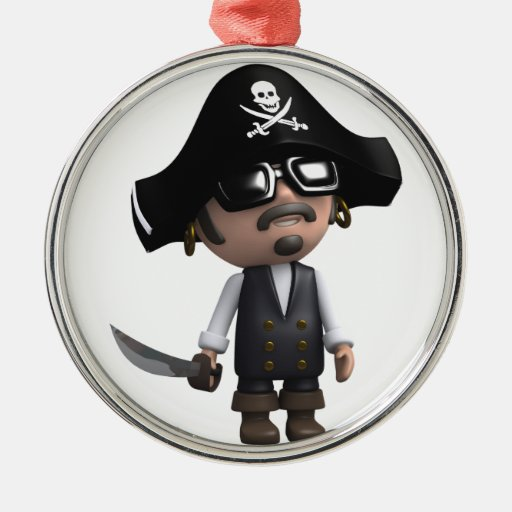 3d Pirate sunglasses Round Metal Christmas Ornament