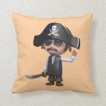 3d Pirate waves Hello! (editable) Throw Pillow