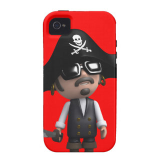 3d Pirate wears Sunglasses (editable) Case-Mate iPhone 4 Covers