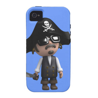 3d Pirate wears Sunglasses (editable) Case For The iPhone 4