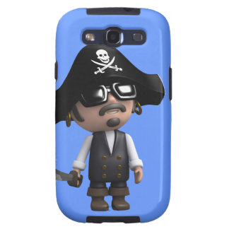 3d Pirate wears Sunglasses (editable) Samsung Galaxy S3 Cases