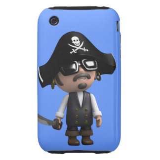 3d Pirate wears Sunglasses (editable) iPhone 3 Tough Covers