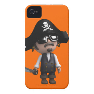 3d Pirate wears Sunglasses (editable) iPhone 4 Case-Mate Cases