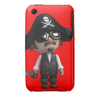 3d Pirate wears Sunglasses (editable) iPhone 3 Cover
