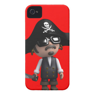 3d Pirate wears Sunglasses (editable) iPhone 4 Covers
