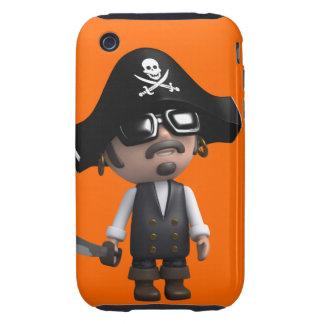 3d Pirate wears Sunglasses (editable) Tough iPhone 3 Case