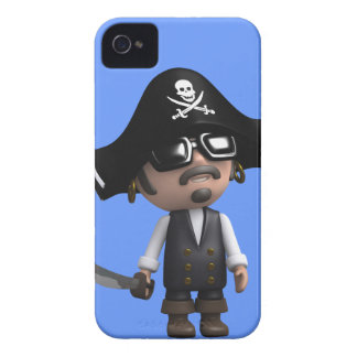 3d Pirate wears Sunglasses (editable) Case-Mate iPhone 4 Cases