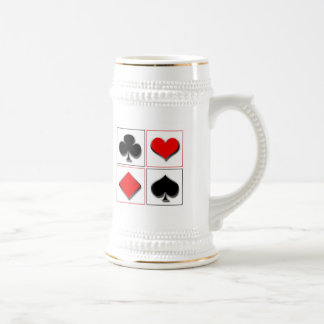 3D playing card suits 18 Oz Beer Stein