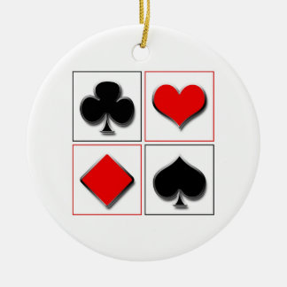 3D playing card suits Double-Sided Ceramic Round Christmas Ornament