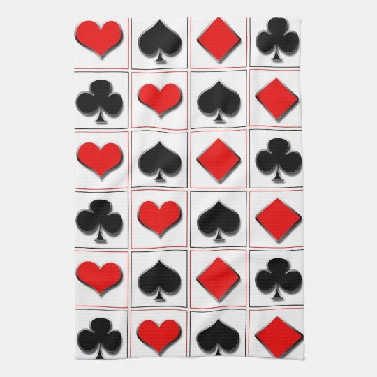 3D Playing card suits pattern Hand Towel