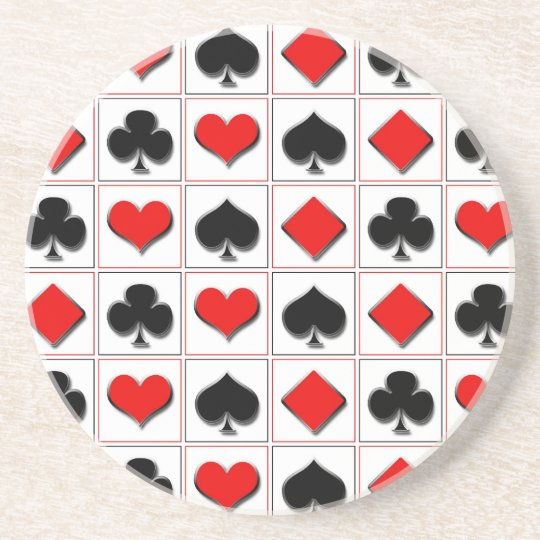 3D Playing card suits pattern Sandstone Coaster