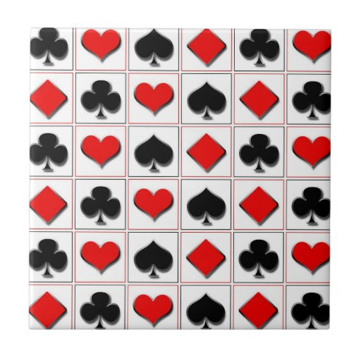 3D Playing card suits pattern Tile
