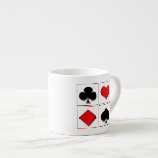 3D playing card suits 6 Oz Ceramic Espresso Cup