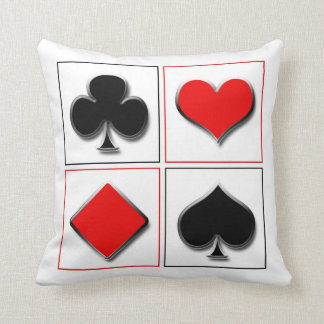 3D playing card suits Throw Pillows
