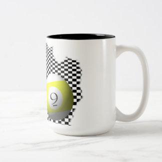 3D Pool Balls Psychobabble Splash Two-Tone Coffee Mug