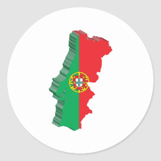 3D Portugal Map Classic Round Sticker