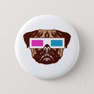 3D Pug Pinback Button
