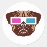 3D Pug Round Sticker