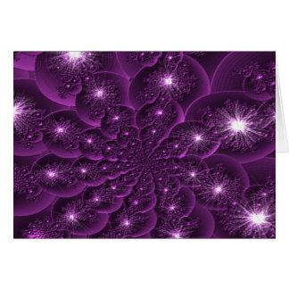 3D Purple Flower Petal Fractal Card Template
