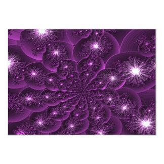 3D Purple Flower Petal Fractal Invitation Template