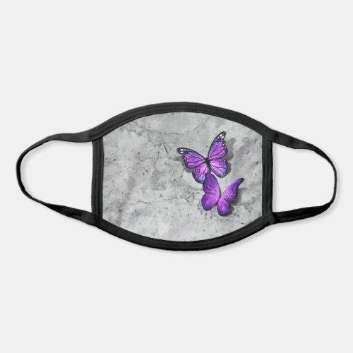 3D Purple Monarch Butterfly Gray Stone Watercolor Face Mask