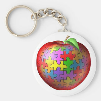 3D Puzzle Apple Basic Round Button Keychain
