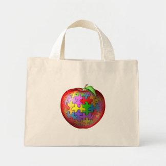 3D Puzzle Apple Mini Tote Bag