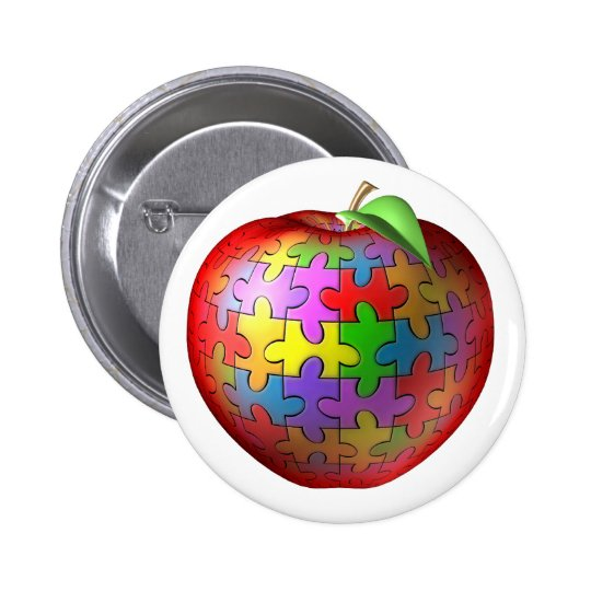 3D Puzzle Apple Pinback Button