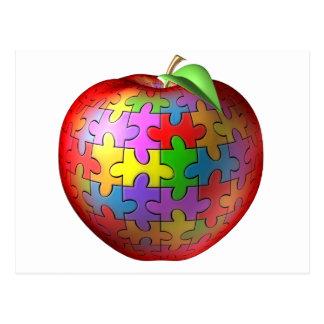 3D Puzzle Apple Postcard