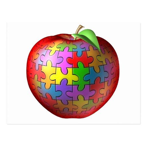 3D Puzzle Apple Post Card