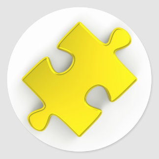 3D Puzzle Piece (Metallic Gold) Classic Round Sticker