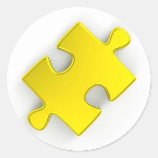3D Puzzle Piece (Metallic Gold) Classic Round Sticker