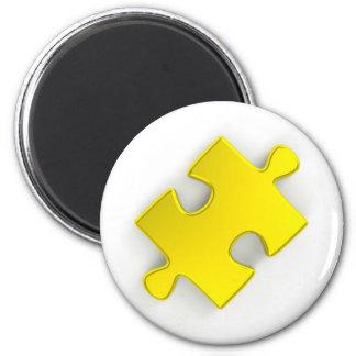 3D Puzzle Piece (Metallic Gold) 2 Inch Round Magnet