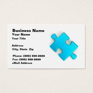 3D Puzzle Piece (Metallic Light Blue) Business Card