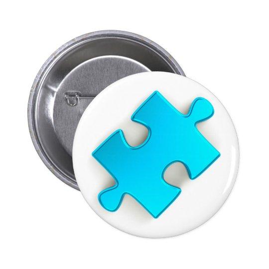 3D Puzzle Piece (Metallic Light Blue) Button