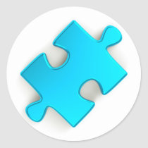 3D Puzzle Piece (Metallic Light Blue) Classic Round Sticker