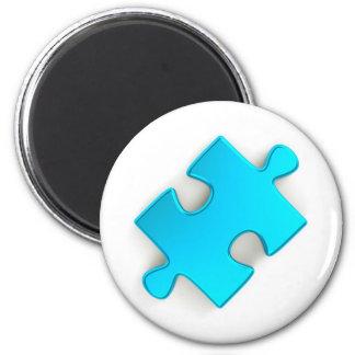 3D Puzzle Piece (Metallic Light Blue) 2 Inch Round Magnet
