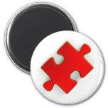 3D Puzzle Piece (Metallic Red) 2 Inch Round Magnet