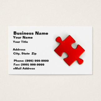 3D Puzzle Piece (Metallic Red) Business Card