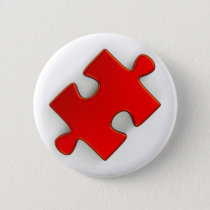 3D Puzzle Piece (Metallic Red) Button