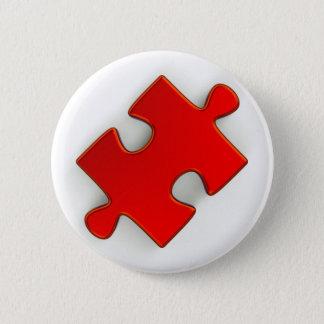 3D Puzzle Piece (Metallic Red) Button