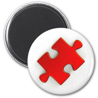 3D Puzzle Piece Metallic Red Refrigerator Magnet