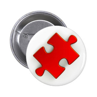 3D Puzzle Piece (Metallic Red) Pinback Button