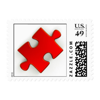 3D Puzzle Piece (Metallic Red) Postage